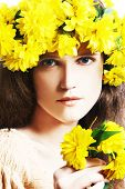 Young Woman With Wreath Of Yellow Flowers