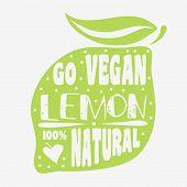 Постер, плакат: Vegan Typographic Print With Lemon