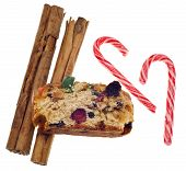 Holiday Foods Cinnamon Fruit Cake And Candy Cane Candies
