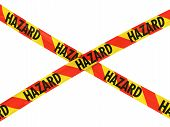 Постер, плакат: Red And Yellow Striped Hazard Barrier Tape Cross