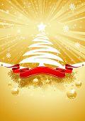 Oro tarjeta de Navidad con el árbol de Navidad