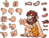 Постер, плакат: Cartoon caveman ready for animation The caveman is sitting but right hand and facial features eye