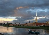 Saint-Petersburg. The Peter And Paul  Fortress In The Evening.
