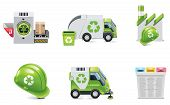 foto of trash truck  - Set of the trash recycling related icons - JPG