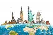 Постер, плакат: Famous Monuments Around The World