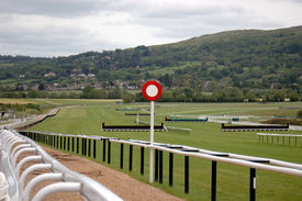 image of race track  - finishing line at cheltenham race course - JPG