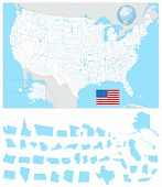 Usa Blank Map With Its Lakes, Rivers And Separated States poster
