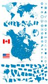 Detailed Map Of Usa And Canada With World Map Navigation Set poster