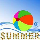Beachball - verão palavra soletrado para fora com bolas