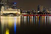 Singapore City Night Skyline