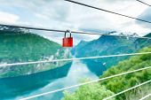 Red Padlock And Geirangerfjord From Flydasjuvet Viewpoint Norway poster