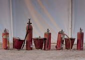 Outdated fire extinguishers at tent camp of Nagaur's palace in Rajasthan.