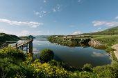 Aparan Reservoir Aragat region Armenia. horizontal shot in the afternoon