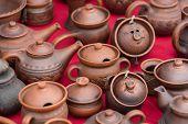 clay pots close-up. horizontal day shot close-up