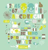 sweet character font set- very cute green fonts set 2