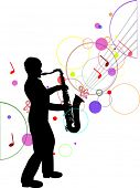 illustration with saxophonist silhouette on music background
