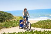 Women and Children enjoying a Beachside Bicycle Ride