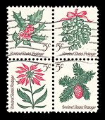 Usa 1964 Christmas Stamps; Mistletoe, Holly, Pine, And Poinsettia.