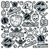 Icon And Badge Set Of Baseball And Softball Equipment poster