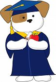 stock photo of dessin  - A cute puppy is dessin in a cap and gown for graduation - JPG