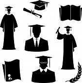 Graduates and graduation items (Vector)