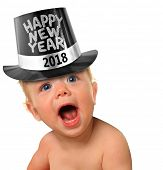 Cute Happy New Year Baby 2018, studio isolated on white.  poster