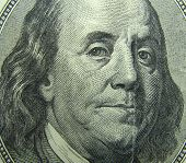 Benjamin Franklin portrait. 100 dollar bill.