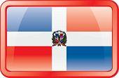 Botón de la bandera de República Dominicana. Icono de la bandera.