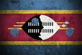 Weathered Flag Of Swaziland, fabric textured