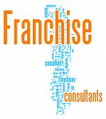Franchise word cloud illustration. Graphic tag collection.