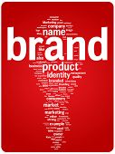 Brand word cloud illustration. Graphic tag collection.