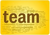 Team word cloud illustration. Graphic tag collection.