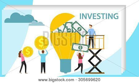 poster of Investing In An Idea. A Group Of People Investing Money In A Lamp. Cash Investment. Vector Illustrat
