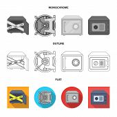 Vector Design Of Safe And Open Symbol. Collection Of Safe And Container Vector Icon For Stock. poster