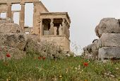 Ancient Statues Of The Caryatids On The Erechtheion Or Erechtheum Temple In Acropolis poster