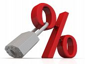 Fixed Interest Rate. Red Percentage Sign With A Padlock On White Surface. Isolated. 3d Illustration poster