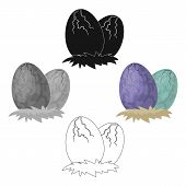 Eggs Of Dinosaur Icon In Cartoon, Black Style Isolated On White Background. Dinosaurs And Prehistori poster
