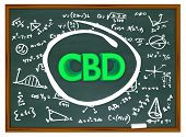 CBD Cannabidiol Marijuana Cannabis Chalk Board Formula Scientific Discovery 3d Illustration poster
