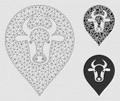 Mesh Cow Map Pointer Model With Triangle Mosaic Icon. Wire Carcass Polygonal Mesh Of Cow Map Pointer poster