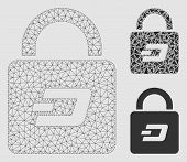 Mesh Dash Lock Model With Triangle Mosaic Icon. Wire Frame Triangular Mesh Of Dash Lock. Vector Mosa poster