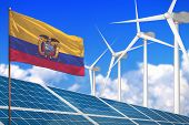 Ecuador Solar And Wind Energy, Renewable Energy Concept With Windmills - Renewable Energy Against Gl poster