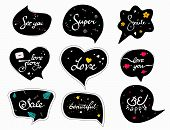 Funny Black Speech-bubbles With Words. Slogan Stylized Typography. Sketch Quotes And Phrases Collect poster