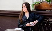 Girl Relax In Cafe Cappuccino Cup. Breakfast Time In Cafe. Girl Enjoy Morning Coffee. Woman Drink Co poster