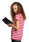 Portrait of happy girl with calculator isolated on white background