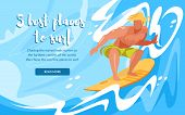 5 Best Places To Surf Horizontal Banner With Young Man Riding Surfing Board By Ocean Waves. Sportsma poster