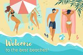Welcome To Best Beaches Horizontal Banner, Young Male And Female Characters Relaxing Under Sun Umbre poster