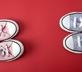 Two Pairs Of Worn Classic Textile Pairs Of Shoes On A Red Background, Top View, Copy Space poster