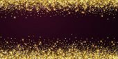 Sparkling Gold Luxury Sparkling Confetti. Scattered Small Gold Particles On Red Maroon Background. A poster