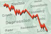 Concepto de recesión economía