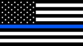 Usa Flag With A Thin Blue Line - A Sign To Honor And Respect American Police, Army And Military Offi poster